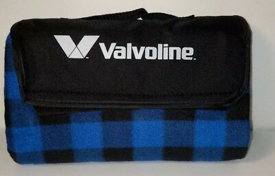 Valvoline Blanket Picnic Stadium Fleece Roll Up Blue Black Plaid New