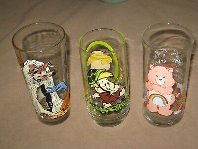 Pepsi Wiley Coyote and Road Runner, Pizza Hut   Barney, & Cheer Care Bear glass