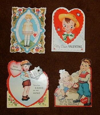 4 Vintage Early Valentines 1950s-1960s Interesting Configurations Great Cond   C