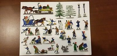 Vintage Hans Heinrichsen German Tin Lead Flats Winter Skating Set of 29 pieces