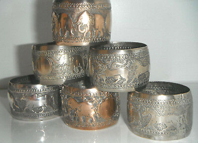 Set of 6 Silver Plated Elephant & Jungle Animals Decorated Indian Napkin Rings