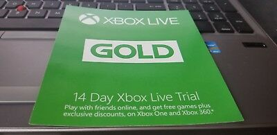Microsoft Xbox 360 & Xbox One Live 14 Day Subscription Card Gold Trial 14 days