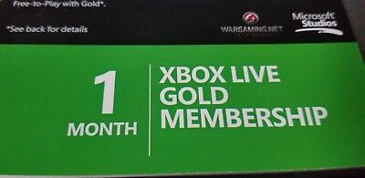 Microsoft Xbox 360 & Xbox One Live 1 Month Subscription Card Gold Trial 1 Month