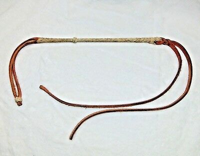 Vintage Hand Braided Rawhide Leather Western Quirt Cowboy Horse Bull Whip Brown