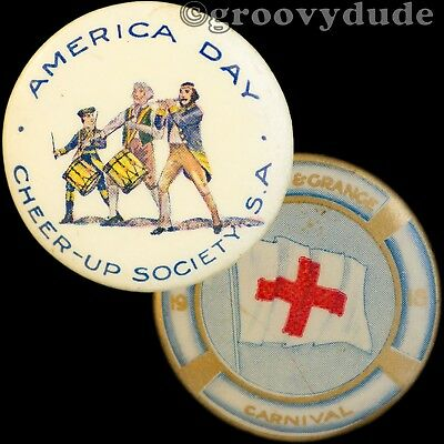 2 South Australia Red Cross World War 1 America Day WWI Pin Pinback Button Lot