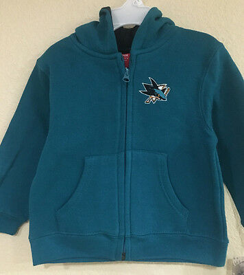 San Jose Sharks Toddler Full Zip Hoodie Teal Color - Reebook FACE OFF Collection