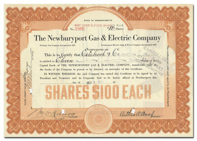 Newburyport Gas & Electric Company Stock Certificate (Massachusetts)