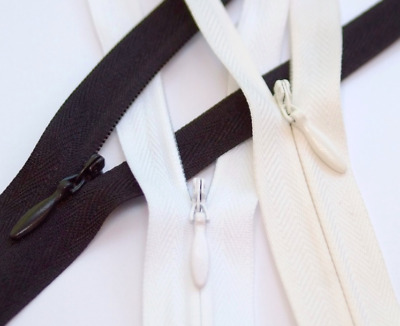 """5x Black White Offwhite Concealed Invisible Nylon Zip 14"""" 36cm Closed-End Zipper"""