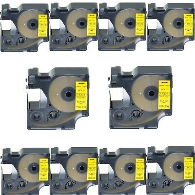 "10x 18433 Black on Yellow Vinyl Label 3/4"" for DYMO RHINO 4200 5200 6000 Printer"