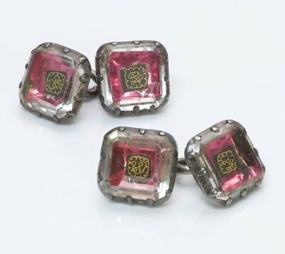 Antique Georgian18th Century Silver Gold Wire Crystal Cufflinks