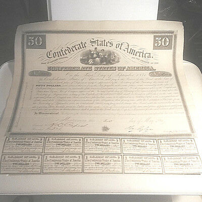 CONFEDERATE STATES OF AMERICA $50 BOND CR # 5 10 COUPONS Embosed CSA Trea seal