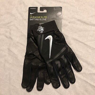 d3b75e38f9fa NIKE HUARACHE ELITE Batting Gloves Black Silver Men s SZ Large ...