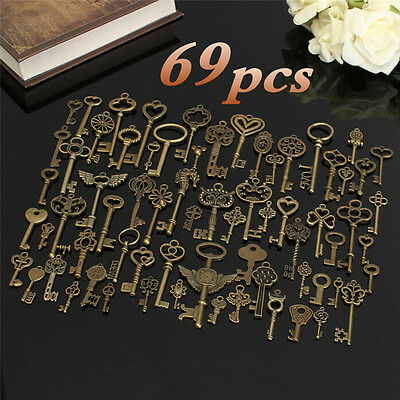 69X Antique Vintage Old Look Bronze Skeleton Key Fancy Heart Bow Pendant-DecorP*