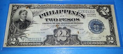 2 Peso Philippines Victory Series 66 circulated banknote ! 1944 ! VG/F. NOTE