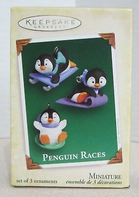 Hallmark 2005 - Penguin Races - 3 Piece  Miniature Ornament Set