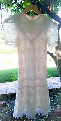 BEAUTIFUL VTG GUNNE SAX GIRLS' CREAM / BLUSH DROP WAIST PINK LACE DRESS sz 10