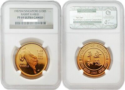 Singapore 1987 Rabbit X-MB31 100S 1 oz Gold NGC PF69 ULTRA CAMEO
