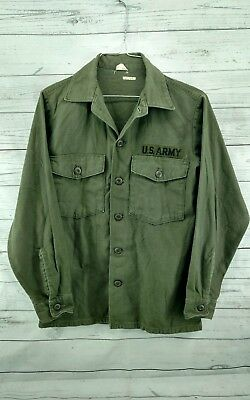 Vintage U.S. ARMY Issued Vietnam Era Military Button Up Shirt 14.5 x 31 Small