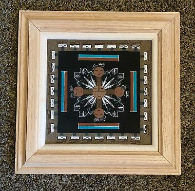 Native Navajo Sand Art Painting Framed Signed By Artist