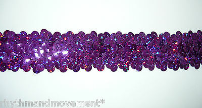Dance Costume Elastic Sequin Trim - 3 rows stretch Purple Hologram Laser 1m