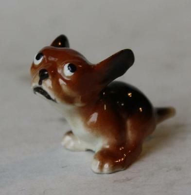 Puppy Dog Figurine w-Great Face Looking Up Miniature Bone China Adorable Vintage