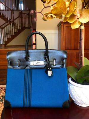 a84c0d938f44 Hermes Blue Toile  Black Hac 28 Birkin Bag So Rare And Must Have For  Collectors
