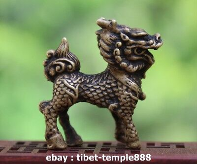 4.5 CM China 100% Pure Bronze Dragon Foo Dog Lion Wealth Animal Amulet Sculpture