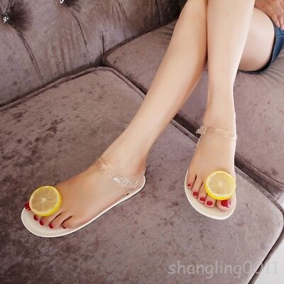 320d0c6ddb2934 Womens Lemon Sandal Shoes Mules Flats Buckle Transparent Jelly Flip Flops  Casual