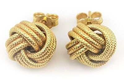 Vintage LOVE KNOT STUD EARRINGS - 9ct - 375 Yellow Gold - Post & Butterfly