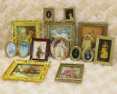 1/12 Scale Dollhouse Miniature Framed Wall Painting Whole set; Lot 10 numbers