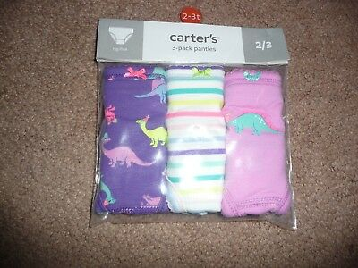 New Carter's 3 Pack Underwear Girls Panties with dinosaur prints NWT size 2T-3T