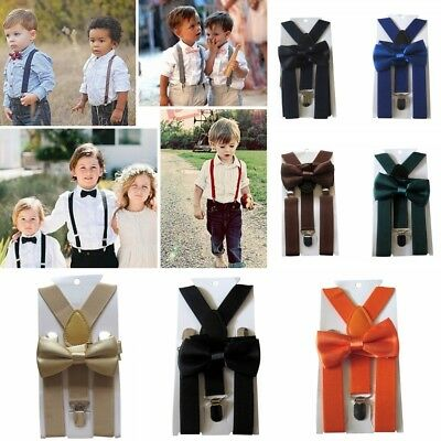 Boys Girls Kids Children Clip-On Braces Suspenders Bow Tie Adjustable Braces New