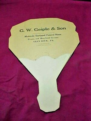 G W Geiple & Son Glen Rock PA Cardboard Fan Modernly Quipped Funeral Home