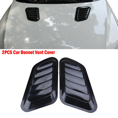 2pcs Universal Car Decorative Air Flow Intake Scoop Turbo Bonnet Vent Cover Hood