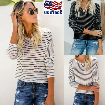 Women Long Sleeve Stripe V Neck T Shirt Crop Tops Ladies Casual Loose Blouse Tee