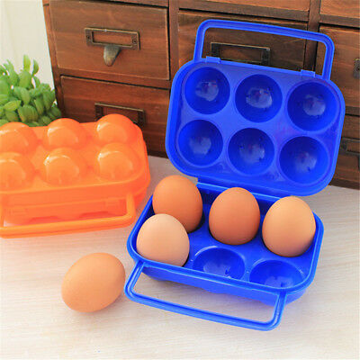 Camping Hiking Portable 6 Grid Egg Storage Holder Container Box Food Case Cover