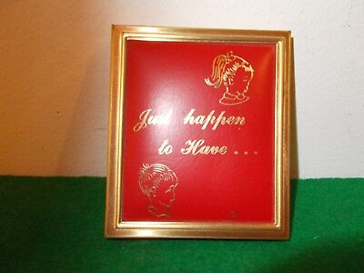 """1950's Metal Vinyl Accordian Style Photo  Compact Case; """"Just Happen to Have"""""""
