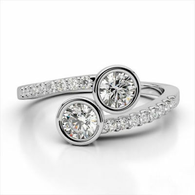 2.08Ct Round Cut Diamond Two Stone Engagement Ring Certified 14K White Gold