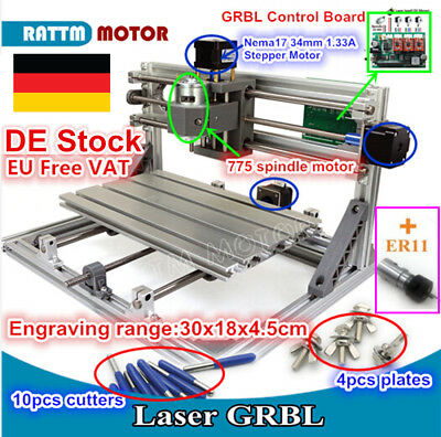 DIY 3 Axis 3018 Mini CNC Router PCB Milling Wood Engraving Laser Machine+Collet