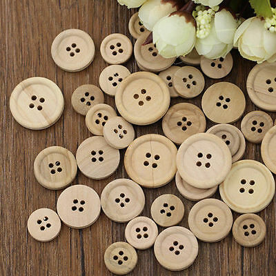 50 Pcs Mixed Buttons Natural Color Round 4-Holes Sewing Scrapbooking DIY