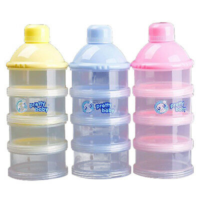 1x Portable Baby Infant Feeding Milk Powder&Food Bottle Container 4 Cells Gri H6