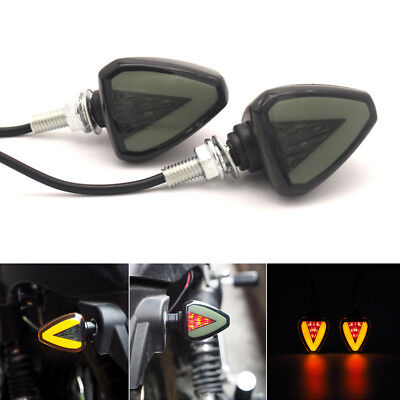 2x 12V Scooter Moped Motorcycle LED Turn Signal Light Indicator w/ Red Stop Lamp