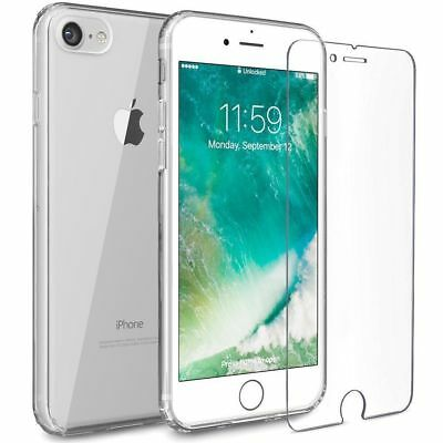 NEW iPhone 6 , 6s Clear Gel Case Cover And Tempered Glass Screen Guard Protector