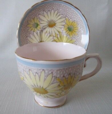 tuscan cup & saucer pink chintz with yellow flowers nice blue edge