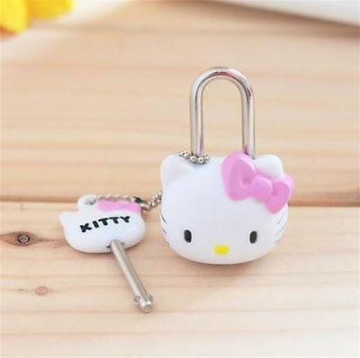 1x Kawaii Pink Cartoon Hello kitty Lock Cat Multifunctional Mini Lock with Key