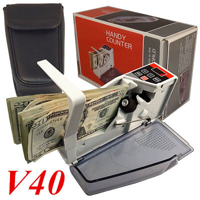 New V40 Handy Bill Cash Money All Currency Counter Counting Machine + Bag BL1