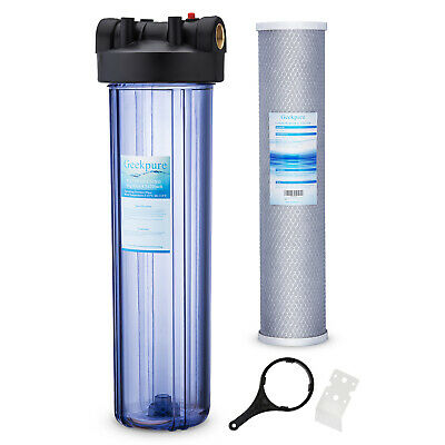 """20"""" x 4.5"""" Big Blue Whole House Clear Filter Housing with Carbon Block Filter"""