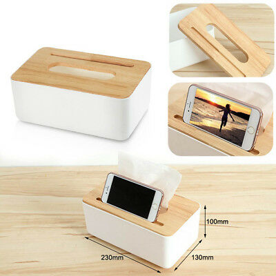 4 Styles Tissue Box Wooden Napkin Case Cover Holder Container Plastic Home Room