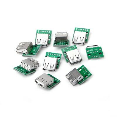 10 Pcs USB 2.0 Female Socket to DIP 4P Adapter Connector 2.54mm Welded PCB Board