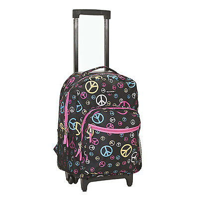 BACKPACK WITH WHEELS 17 In Girls Kids School Rolling Bag Luggage Organizer Peace